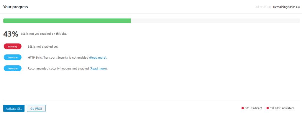 Really simple ssl settings progress.