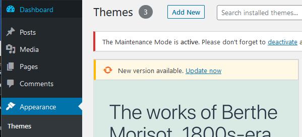 WordPress Add New Theme