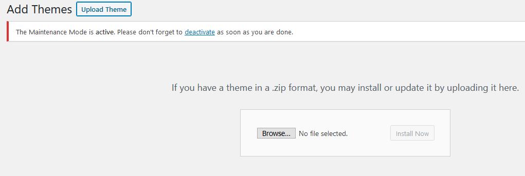 WordPress Upload new theme