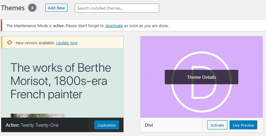 WordPress Activate DIVI theme