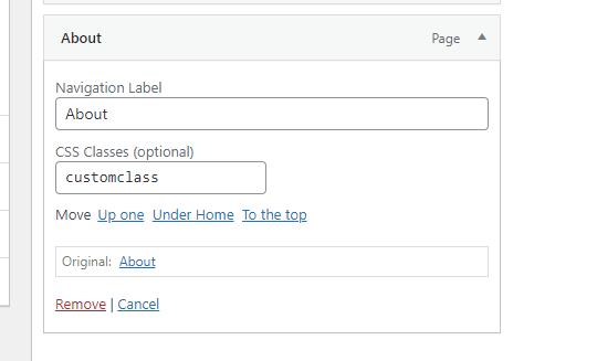 WordPress Menus Custom CSS Class Option