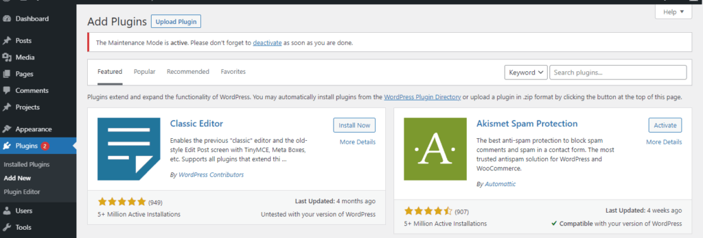 WordPress Add New Plugin Page