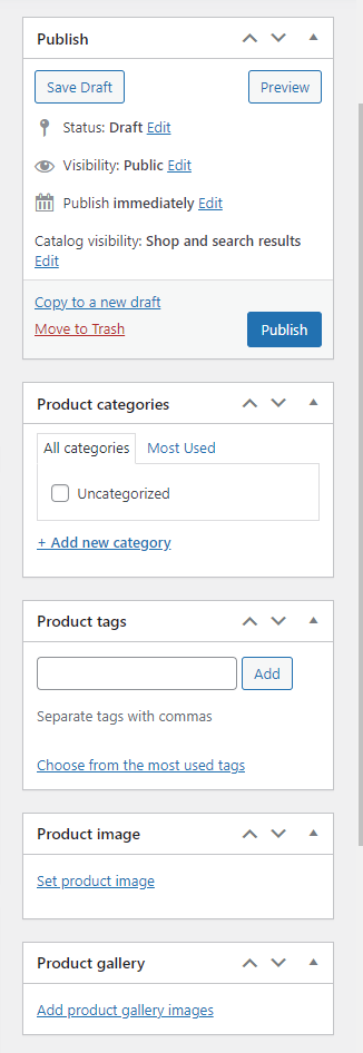 WooCommerce Backend Right Sidebar Options